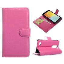 Roze lychee Bookcase hoes LG L Bello / L80 Plus