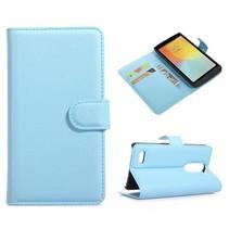 Blauwe lychee Bookcase hoes LG L Bello / L80 Plus