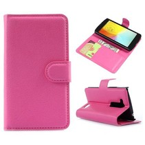 Roze lychee Bookcase hoes LG L Fino