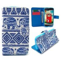 Blauwe olifanten Bookcase hoes LG L90