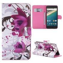 Paarse Bloem Bookcase Hoesje LG Nexus 5X