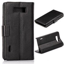 Zwart Bookcase hoesje LG Optimus L7
