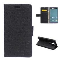 Zwart Figuurtjes Bookcase Hoesje LG V10