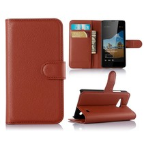Bruin Litchi Bookcase Hoesje Microsoft Lumia 550