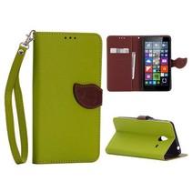 Groene leaf Bookcase hoes Microsoft Lumia 640 XL