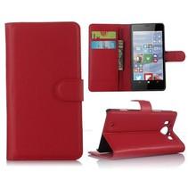 Rood Litchi Bookcase Hoesje Microsoft Lumia 950