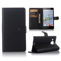 Zwart Litchi Bookcase Hoesje Microsoft Lumia 950 XL