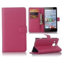 Roze Litchi Bookcase Hoesje Microsoft Lumia 950 XL