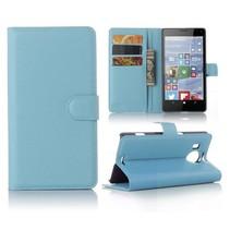 Blauw Litchi Bookcase Hoesje Microsoft Lumia 950 XL