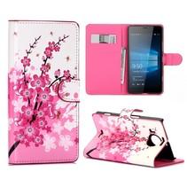 Roze Bloesem Bookcase Hoesje Microsoft Lumia 950 XL