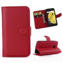 Rode lychee Bookcase hoes Motorola Moto E 2015