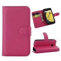 Roze lychee Bookcase hoes Motorola Moto E 2015