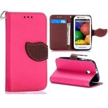 Roze leaf Bookcase hoes Motorola Moto E