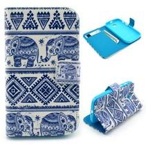 Blauwe olifanten Bookcase hoes Motorola Moto E