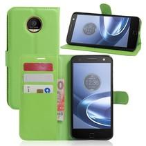 Groen Litchi Bookcase Hoesje Motorola Moto Z Play