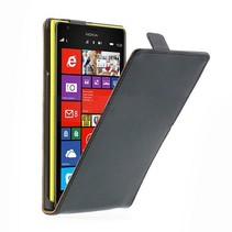 Zwart lederen Flip Case hoesje Nokia Lumia 1520