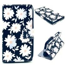 Witte bloemen Bookcase hoes Nokia Lumia 630 / 635