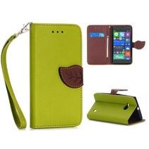 Groene leaf Bookcase hoes Nokia Lumia 730 / 735