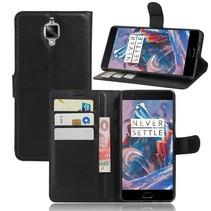 Zwart Litchi Bookcase Hoesje OnePlus 3
