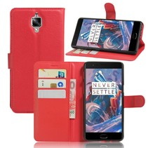 Rood Litchi Bookcase Hoesje OnePlus 3