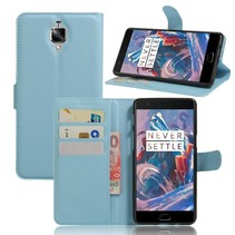 Blauw Litchi Bookcase Hoesje OnePlus 3