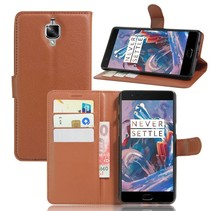 Bruin Litchi Bookcase Hoesje OnePlus 3