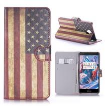 Amerikaanse Vlag Bookcase Hoesje OnePlus 3