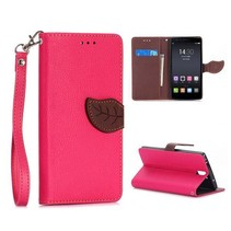 Roze leaf Bookcase hoes OnePlus One