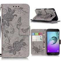 Grijs Bloemen en Vlinder Bookcase Hoesje Samsung Galaxy A3 2016