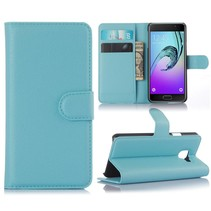 Blauw Litchi Bookcase Hoesje Samsung Galaxy A3 2016