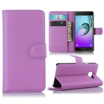 Paars Litchi Bookcase Hoesje Samsung Galaxy A3 2016