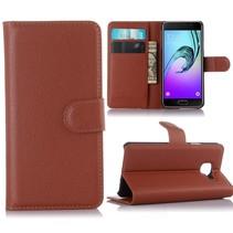 Bruin Litchi Bookcase Hoesje Samsung Galaxy A3 2016