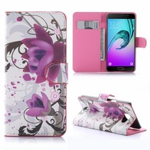 Paarse Bloem Bookcase Hoesje Samsung Galaxy A5 2016