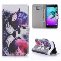 Kat met Zonnebril Bookcase Hoesje Samsung Galaxy A5 2016