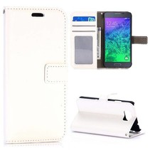 Wit glad Booktype  hoesje Samsung Galaxy Alpha
