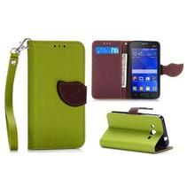 Groene leaf Bookcase hoes Samsung Galaxy Core 2