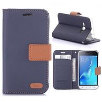 Blauw Bookcase Hoesje Samsung Galaxy J1 2016
