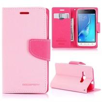 Diary Series Roze Bookcase Hoesje Samsung Galaxy J1 2016