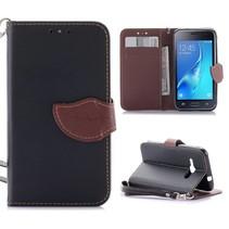 Zwart Blad Design Bookcase Hoesje Samsung Galaxy J1 2016