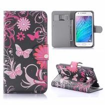 Roze Vlinders Bookcase Hoesje Samsung Galaxy J1 2016