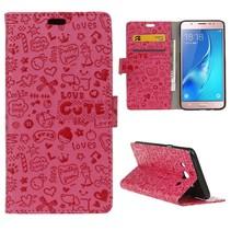 Roze Figuurtjes Bookcase Hoesje Samsung Galaxy J7 2016