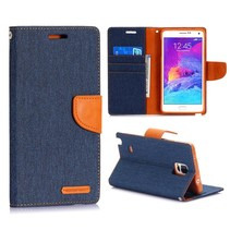 Canvas blauwe Bookcase hoes Samsung Galaxy Note 4