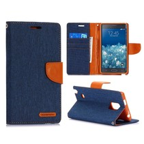 Canvas blauwe Bookcase hoes Samsung Galaxy Note Edge