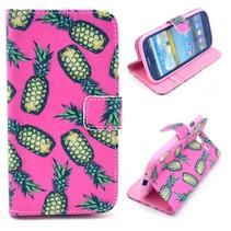 Ananas roze Booktype  hoesje Samsung Galaxy S3 (Neo)
