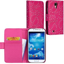 Roze diamanten wallet hoes Samsung Galaxy S4