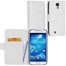 Witte diamanten wallet hoes Samsung Galaxy S4