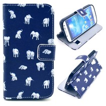 Olifantjes blauwe Booktype  hoes Samsung Galaxy S4