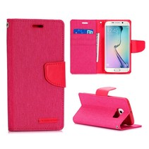 Roze canvas Booktype  hoes Samsung Galaxy S6 Edge