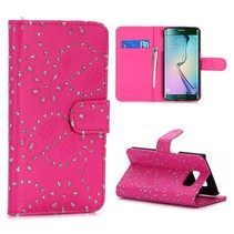 Roze glitters Bookcase hoesje Samsung Galaxy S6 Edge