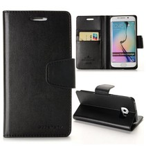 Diary zwarte wallet hoes Samsung Galaxy S6 Edge